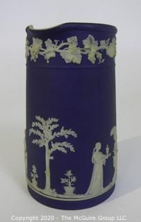 Antique Dark Blue Jasperware Wedgwood Chocolate Pot.