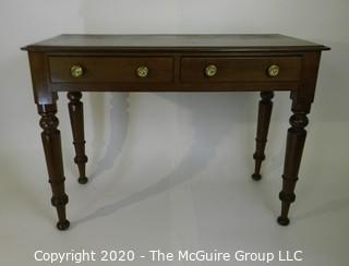 Dark Mahogany Credenza or Console Table with Two Drawers, Brass Pulls and Turned Legs.