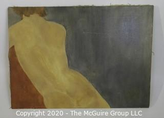 "Large Unframed Oil on Canvas of Female.  Unsigned.  Measures approximately 20"" x 28""."
