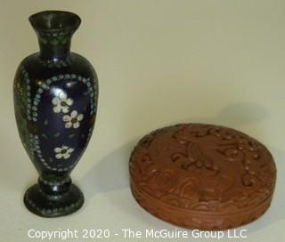 Small Cloisonne Vase with Red Round Cinnabar Carved Box with Lid and Black Lacquer Interior.