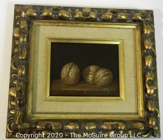 """Ken Marlow - Walnuts, 1975. Oil on Board with Ornate Gilt Frame; signed by Artist; outside dimensions 8 1/2"""" x 9 1/2"""""""