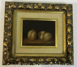 "Ken Marlow - Walnuts, 1975. Oil on Board with Ornate Gilt Frame; signed by Artist; outside dimensions 8 1/2"" x 9 1/2"""