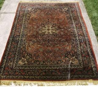 "Bidjar Hand Knotted Wool Rug with Central Medallion on Cream Ground with Floral Motifs and Surrounded by Seven Border Guards. Measures approximately 128"" x 84""."