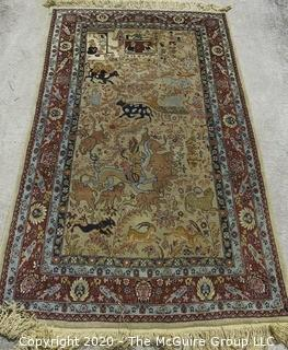 "Tabriz Hand Knotted Wool Prayer Rug Animals and Humans on Cream Ground Surrounded by Five Border Guards.  Measures approximately 76"" x 42""."