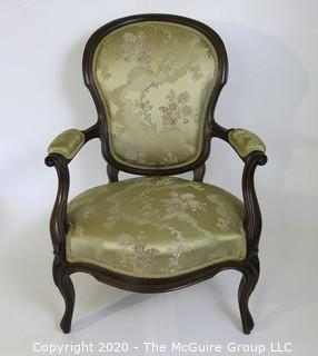 "Balloon Back Victorian Arm Chair Upholstered in Silk Fabric; 25""W x 38""T x 16"" seat height"