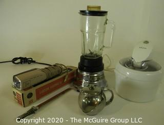 Group of Kitchen Appliances. Includes Electric Knife, Waring Blender with Metal Blades, etc.