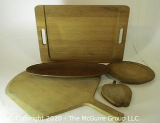 Group of Five Wooden Platters or Trays.  Includes Pizza Paddle, Cutting Board and Serving Tray.