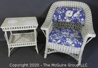 Antique White Painted Wicker Wing Back Armchair and Matching Side Table with Blue Cushions.