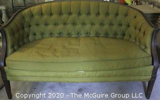 "Vintage Hickory Chair Furniture Company Green Silk Tufted Settee or Love Seat.  It measures approximately 53"" long."