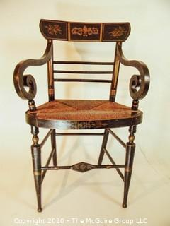 "Antique Hitchcock Style Arm Chair with Rush Seat; 21""W x 35""T  w/ seat height 18"""