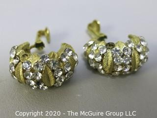 Gold Tone and Rhinestone Clip On Earrings.  Missing Stones.