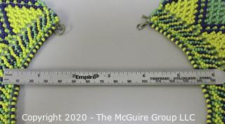 Likely a Vintage Glass Seed Bead Collar Bib Necklace Hand Beaded Native American: Green, Black and Yellow  geometric