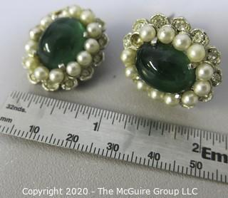 Vintage Marvella Clip On Earrings with Translucent Green Cabochon and Faux Pearl Surround.  Missing a pearl.