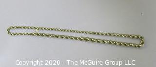 "Vendome Gold Tone Rope Chain, 15"" long."