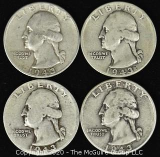 (4) 1943 Washington Quarters