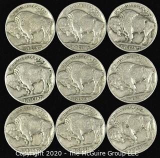 (9) 1937 Buffalo Nickels