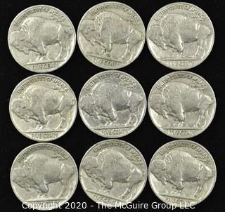 (8) 1937 and (1) 1936 Buffalo Nickels