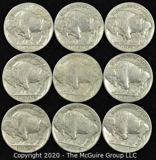 (9) 1937 Buffalo Nickels
