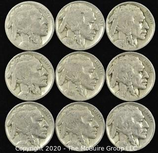 (9) 1926 Buffalo Nickels