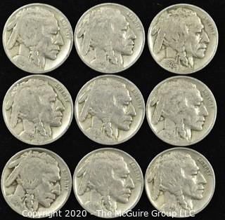 (9) 1926 Buffalo Nickels