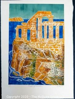 "Original Unframed Color Print by JOAN MILLER LINSLEY (American, 1922-2000). Temple of Posidon 3/20, Signed and Dated 1988. Measures approximately 20"" x 26""."