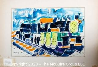 "Original Unframed, Matted Abstract Watercolor on Paper by JOAN MILLER LINSLEY (American, 1922-2000). Locomotive, Signed and Dated 1959. Measures approximately 29"" x 19"" including mat."