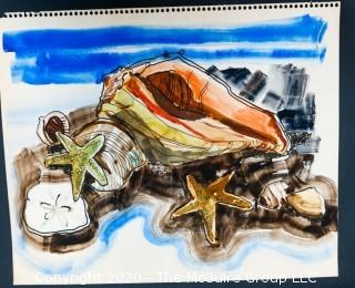 "Original Unframed Watercolor on Paper. Seashells, Unsigned. Measures approximately 14"" x 17"" ."