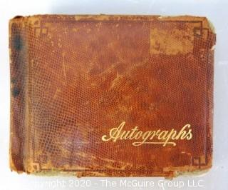 Antique Leather Bound Autograph Book with Signatures.  Includes Several Celebrities of the Era including Leslie Howard & Fanny Brice.