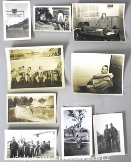 Group of WWII Black & White Photo Album Pictures Featuring Military Service.