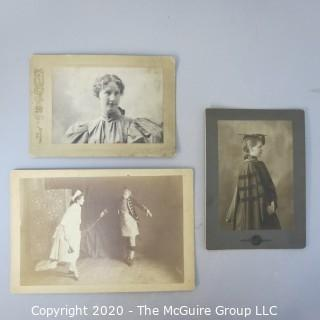 Three Antique Black & White Sepia Tone Cabinet Card Photos of Educated Women.  Features Graduation and Professor photos from Mount Holyoke College and Theater Scene from Smith College.