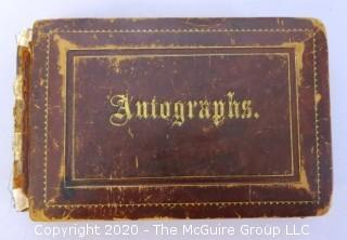 Antique Leather Bound Autograph Book with Signatures.  List of Signatures Included.