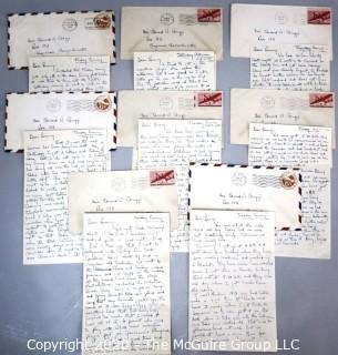 Eight WWII Military Service Letters between Serviceman and Sweetheart.  Discusses Visit to Hollywood.