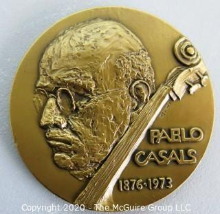 "1973 Heavy Bronze Commemorative Medal for Pablo Casals, by Elizabeth Jones. This medal measures 2 1/2""in diameter and is marked Medallic Art Bronze.  Elizabeth Jones was the first  Chief Sculptor and Engraver of the United States Mint."