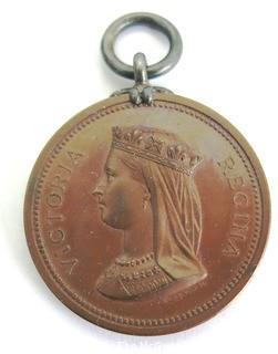 Victoria Regina Mounted Medal Inscribed Langley School 1880 on Reverse.