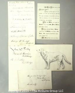 Group of Antique Ephemera.  Includes Signatures from December 1887 Superior Court, Dog Available to Adopt and Personal Correspondence with Ornate Script.