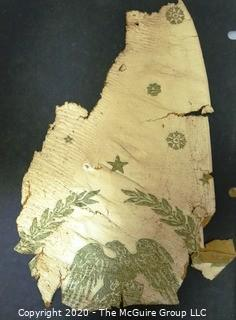 Three Wallpaper Remnants from Renovation of US Capital in early 1900's with Eagle Pattern.