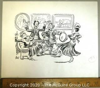 Vintage Signed Cartoon Board from Al Banks. Spoon drum musician
