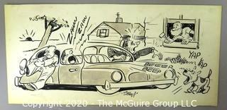 Vintage Signed Cartoon Board from Al Banks. Noisy car