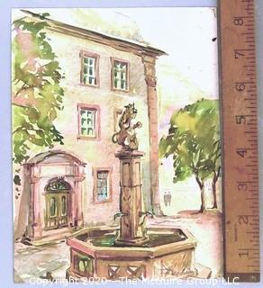 "Unframed Signed Watercolor on Paper of Courtyard Fountain.  Measures approximately 6.5"" x 8.5"".  Signature illegible."