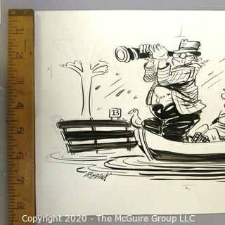Art: Vintage Signed Cartoon Board from Al Banks. Man with spyglass in boat in flood