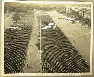 Black & White Official Navy Photograph of Review at Great Lakes Naval Training Station Parade Grounds