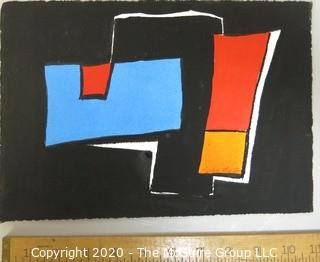 "Small Unframed Modern Abstract Paint on Paper Signed by Walter Thrift.  Measures approximately 11"" x 8""."