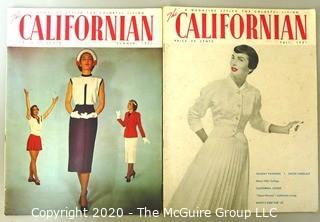 Two 1952 The Californian Magazines - Fashion, Art & Leisure.