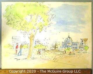 """Unframed Watercolor and Pen on Paper of Park Scene Signed by Artist, James Grubb.  Measures approximately 15"""" x 20""""."""