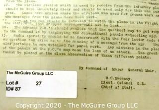 Collectable: Historical: Military: WWI: instructions documenting the ground to air communication methods used by the 28th Division in France Ref: MG Muir