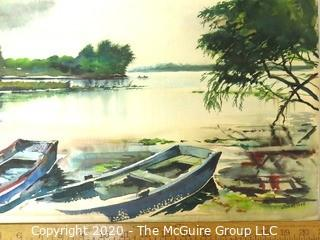 "Unframed Original Watercolor of Boats on Beach Signed by Artist Clorns 1945.  Measures approximately 21"" x 14""."