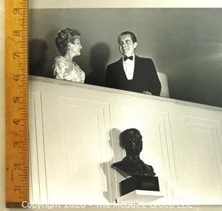 """President Richard Nixon and First Lady Pat Nixon at the Kennedy Center, October 1971, Black & White Official Photograph. The White House.  Measures approximately 9"""" x 13""""."""