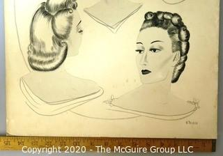 """Vintage Ink on Board of Ladies in Profile Signed by the Artist B Duras.  Measures approximately 15"""" x 20""""."""
