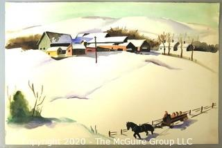 Unframed and Unsigned Watercolor Painting of Winter Scene