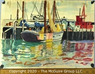 """Unframed and Signed Watercolor Entitled """"Dockside"""" by C.Rambo."""